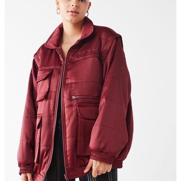 7b037db83 Urban Outfitters Maroon Satin Puffer